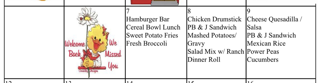 In case you are trying to decide if you should pack or eat school lunch, here is the menu for the first three days!!