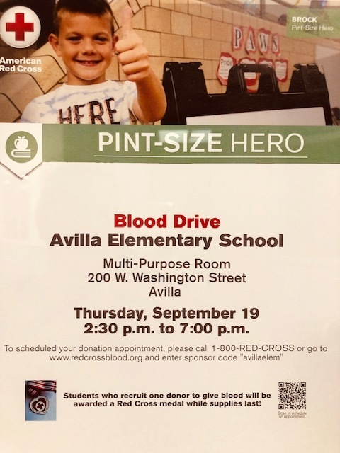 blood drive sept 19 2:30 to 7