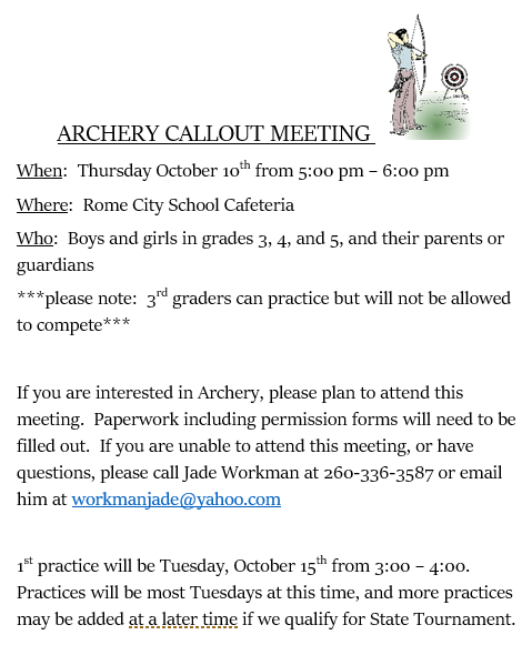 Archery Callout Meeting