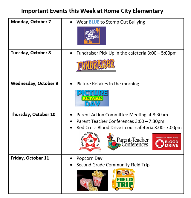 Important Dates Week of Oct. 7