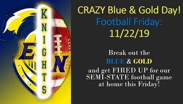 Crazy Blue and Gold Day Football Semi State