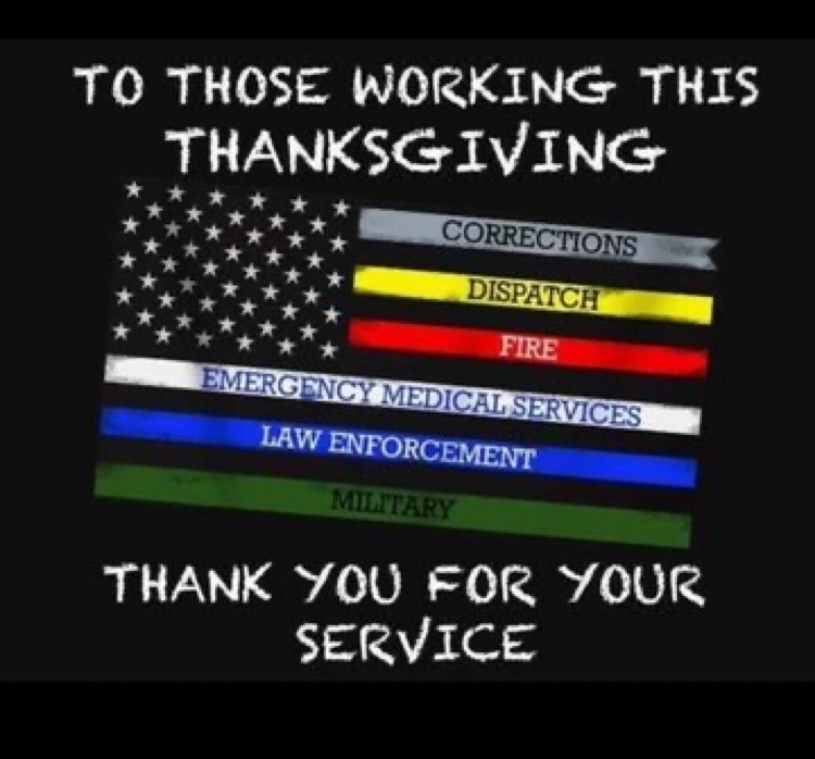 A thank you to those working today.