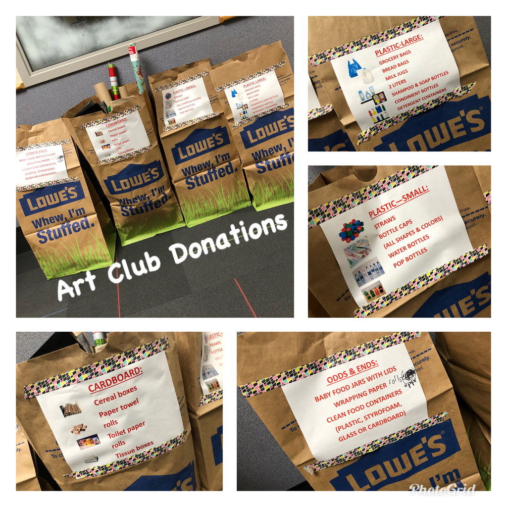 Art Club donations needed!