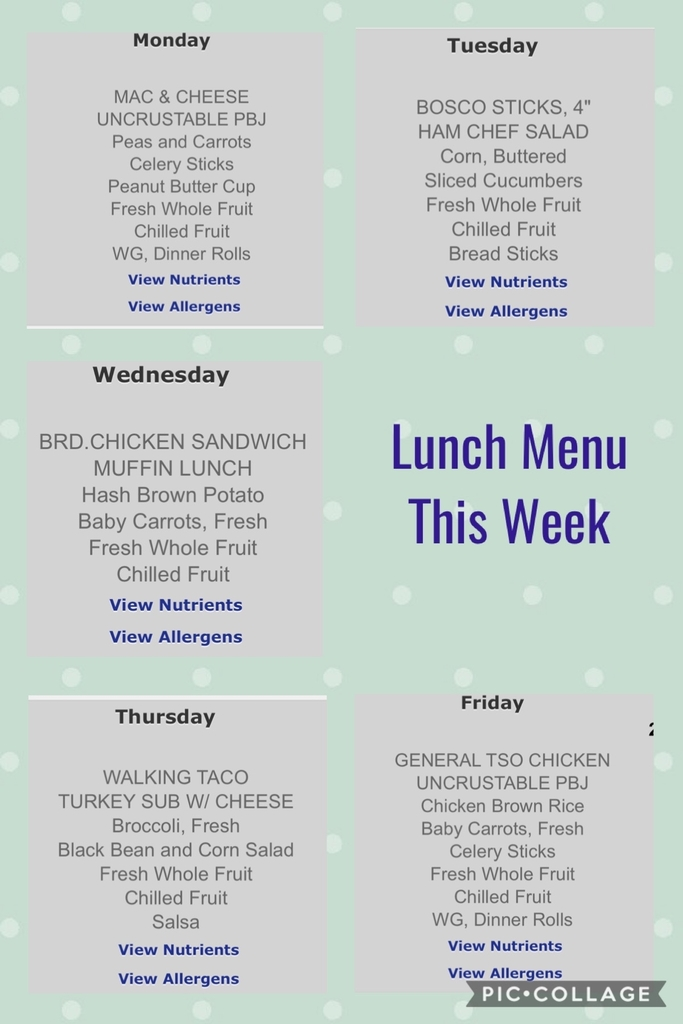 Lunch menu for the week!