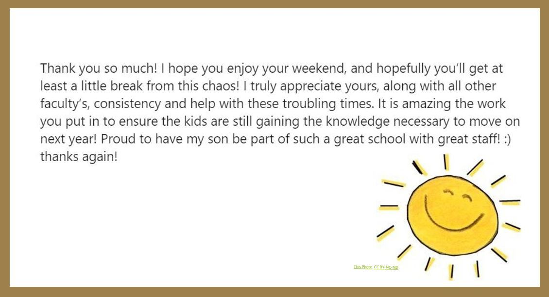 Appreciation message from a parent to a teacher.