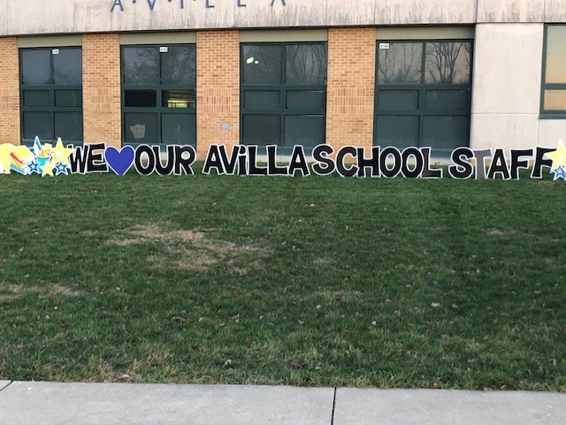 We love our Avilla School Staff yard sign from the PTO.