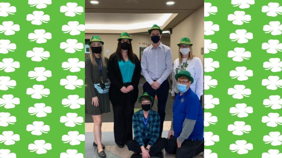 Office staff dressing up for St. Patty's Day