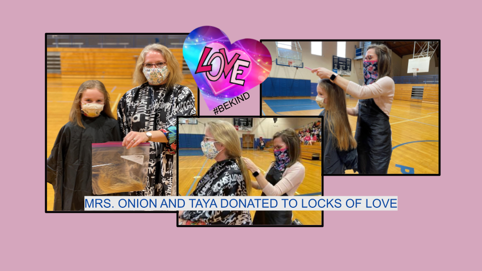 A staff member and student donate their hair.