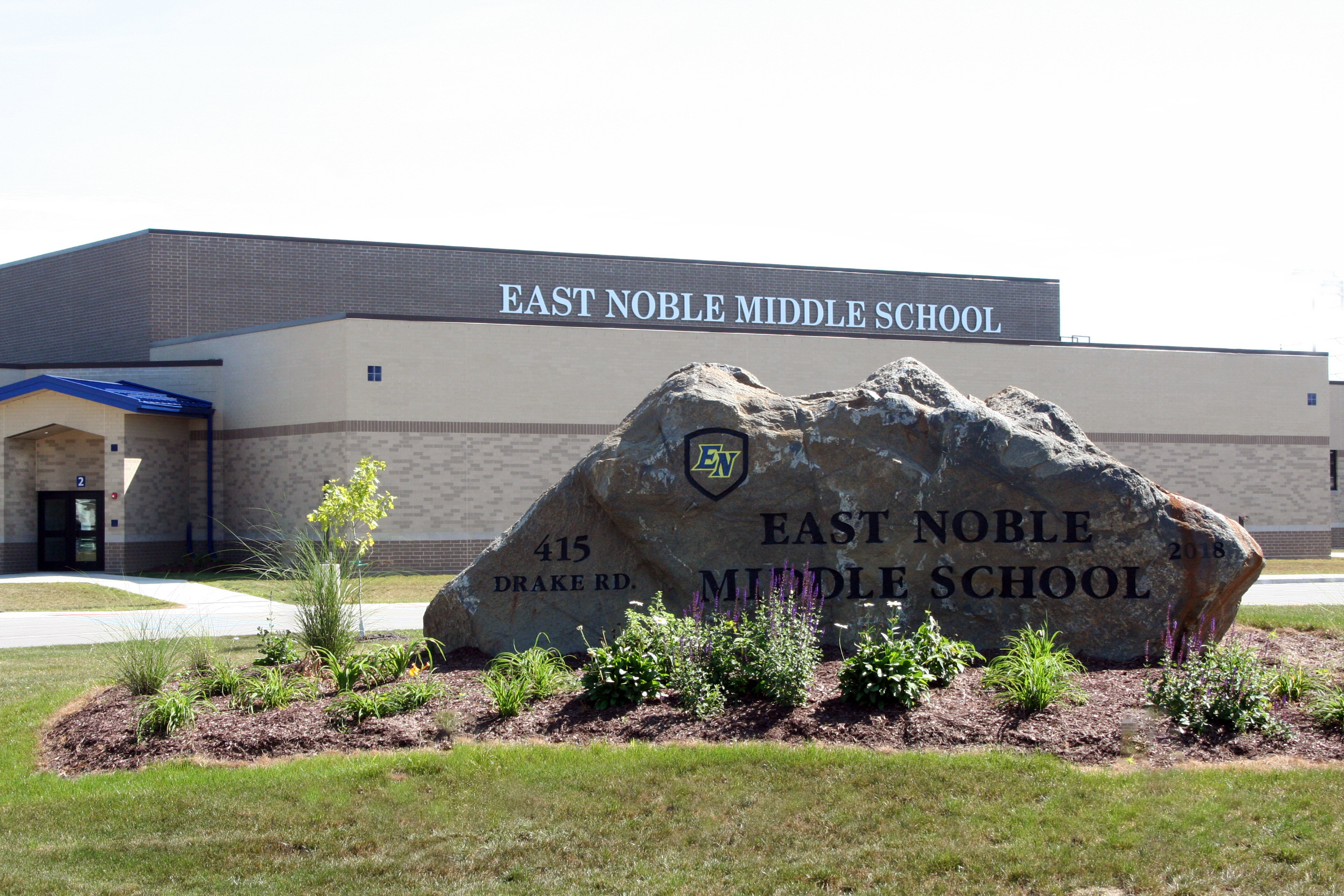 Engraved rock at East Noble Middle School